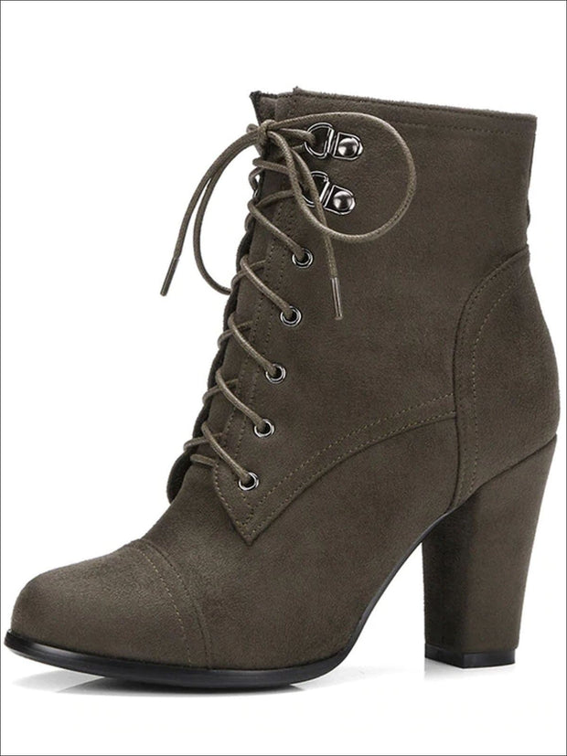 Womens Winter Lace-Up Military High Heel Boots - Green / 4 - Womens Boots