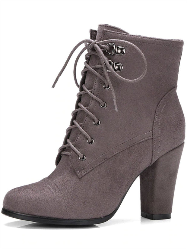 Womens Winter Lace-Up Military High Heel Boots - Grey / 4 - Womens Boots