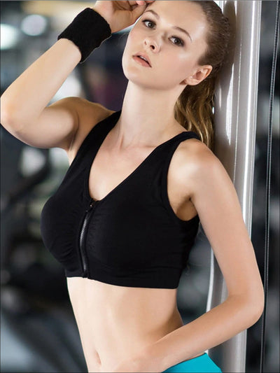 Womens Zip Up Sports Bra - Womens Sports Bra