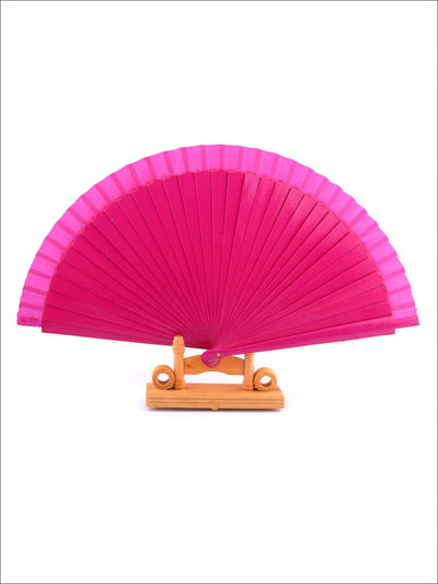Wooden Spanish Flamenco Dance Fan - Pink - Girls Halloween Costume