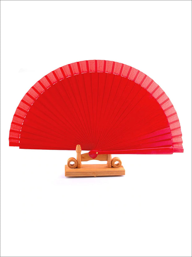 Wooden Spanish Flamenco Dance Fan - Red - Girls Halloween Costume