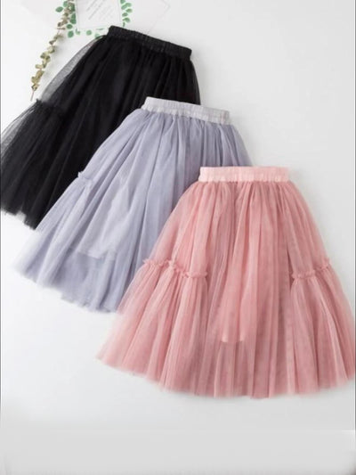 Girls Fall Elastic Waist Tutu Skirt