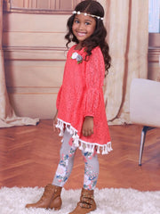 Girls Orange & Floral Lace Peasant Sleeve Hi-Lo Tunic & Leggings Set
