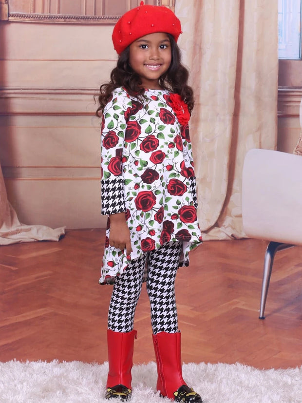 Girls Rose & Houndstooth Hi-Lo Cuffed Tunic and Leggings Set