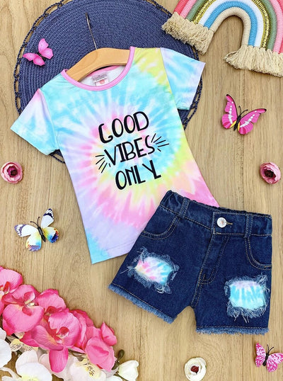 "Girls ""Good Vibes Online"" Tie Dye Top and Patched Denim Shorts Set"