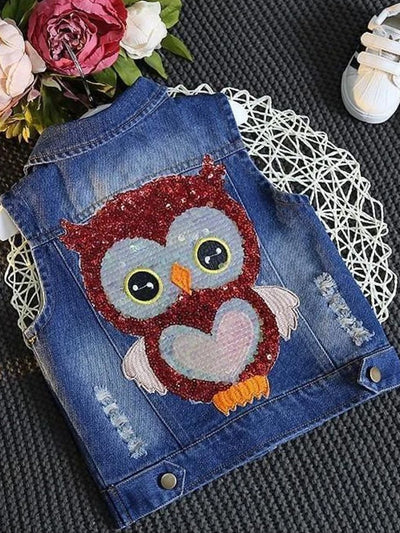 Girls Denim Vest with Owl Applique