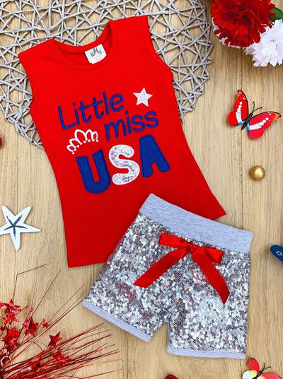 Girls 4th of July Themed Printed Top & Sequin Bow Shorts Set