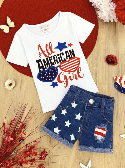 "Girls Patriotic ""All American Girls"" Top and Denim Shorts Set"