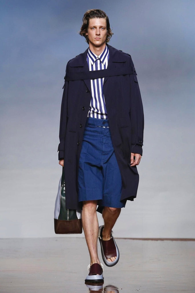 Marni Strapped Navy Trench Coat - Urban Oxygen