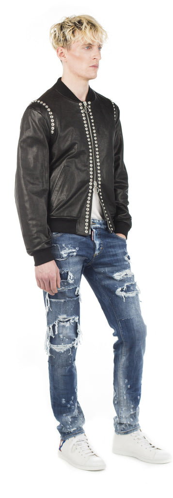 Dsquared2 Studded Leather Bomber - Urban Oxygen