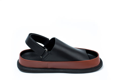Marni Black and Brown Calfskin Sandal - Urban Oxygen