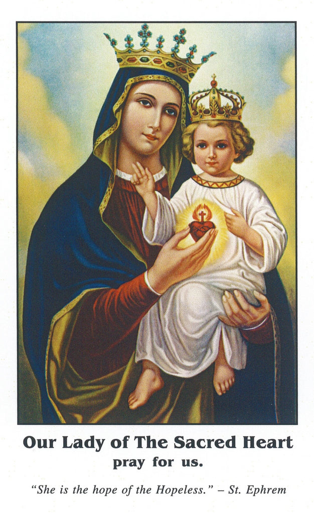 Prayer Card of Our Lady of the Sacred Heart - Pack of 10