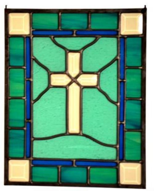Religious Stained Glass Art - Beveled Cross Window