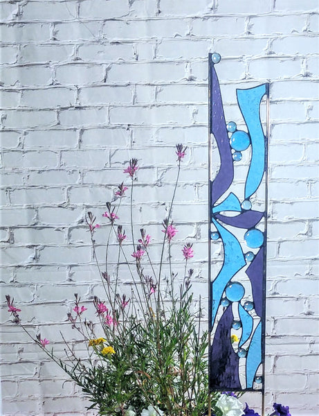 Contemporary Abstract Stained Glass Yard Art in Blue and Purple- 'Butterfly Wings'