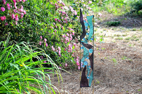 Contemporary Abstract Stained Glass Yard Art