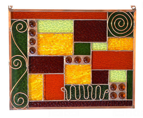 Stained Glass Window Design with Copper Accents and Fall Colors.  'Coppery Fall 2'