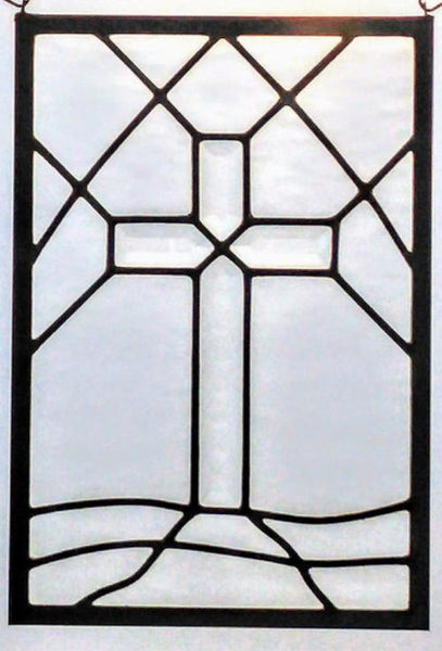 cross stained glass window panel