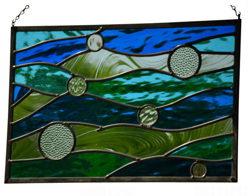Leaded Stained Glass Panel in Nautical Colors -  'Currents'
