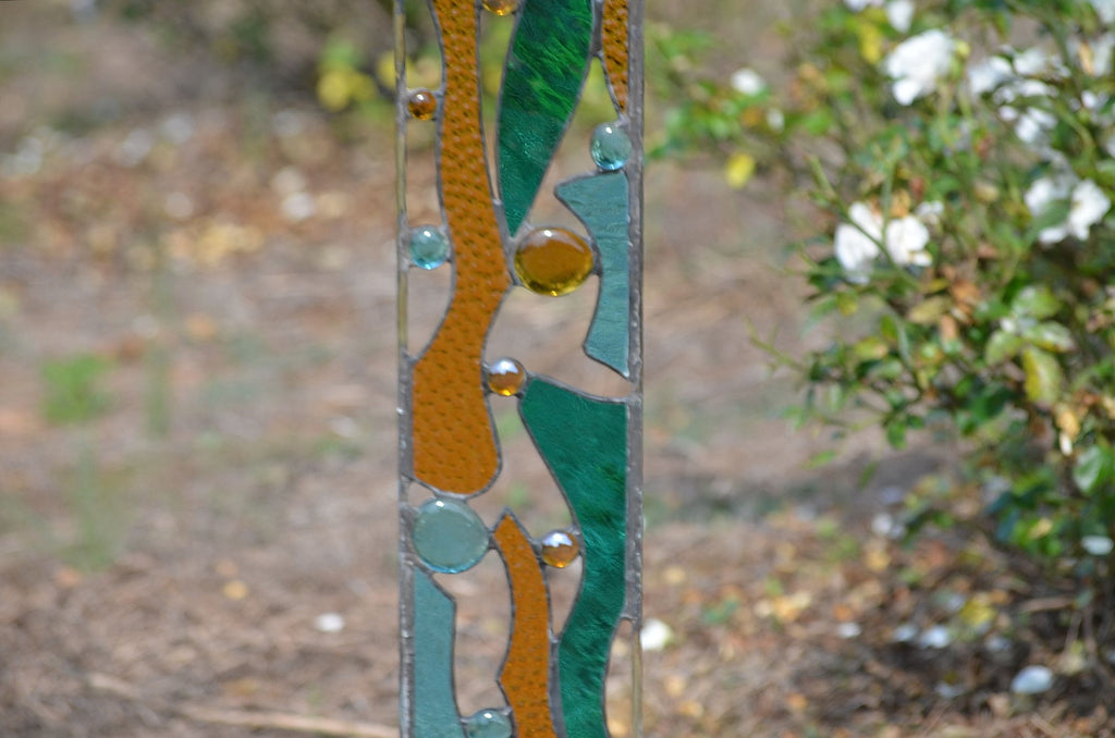 ... Outdoor Garden Decoration   Contemporary Stained Glass Garden Art  U0027Edgewateru0027 ...