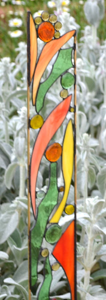 Stained Glass Garden Art in Peach, Yellow, Green