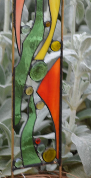 Stained Glass Garden Art in Peach, Yellow, Green - 'Spring Bouquet'