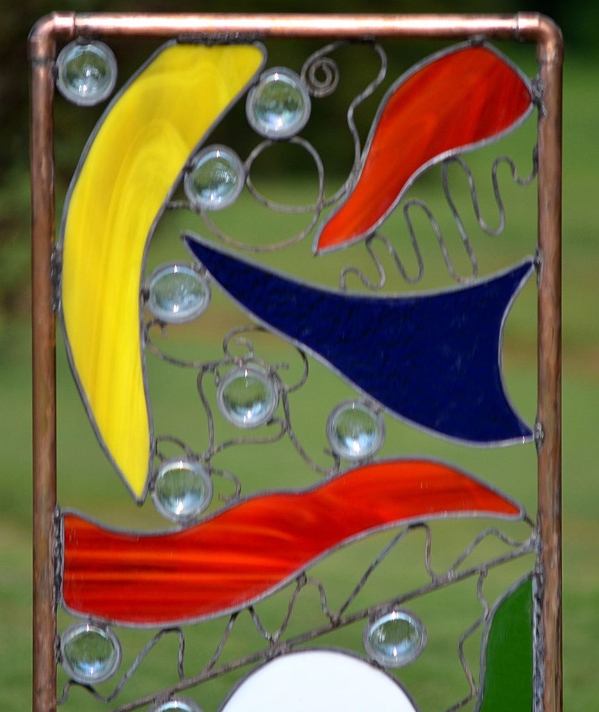 Copper And Stained Glass Yard Art Fantasy