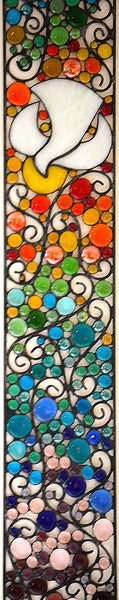 Commissioned Stained Glass Art -  Sidelight with Rainbow Colors