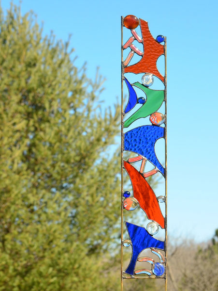 stained glass garden stake by Windsong Glass Studio