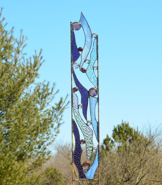 stained glass garden sculpture by Windsong Glass Studio