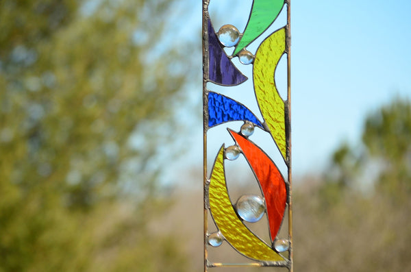 stained glass garden ornaments by Windsong Glass Studio