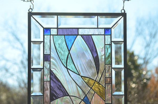 abstract window art by Windsong Glass Studio