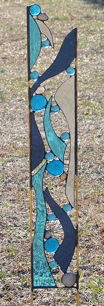 Stained Glass Yard Art in Cool Water Colors