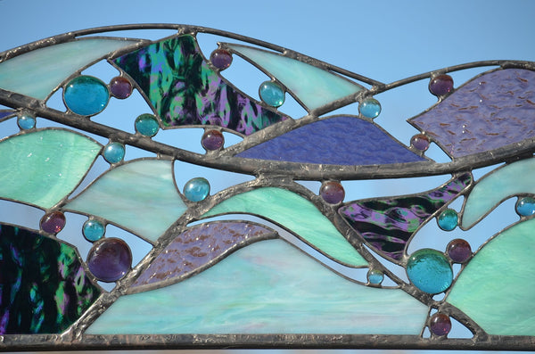 abstract stained glass wall art by Windsong Glass Studio