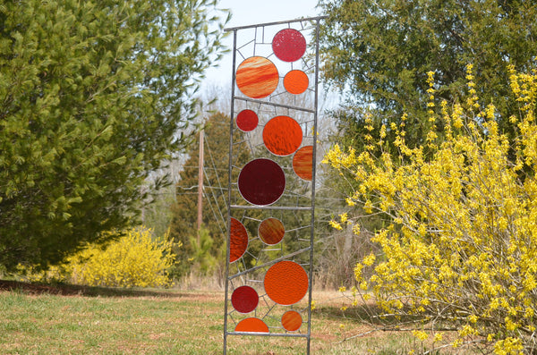 metal and glass garden sculptures