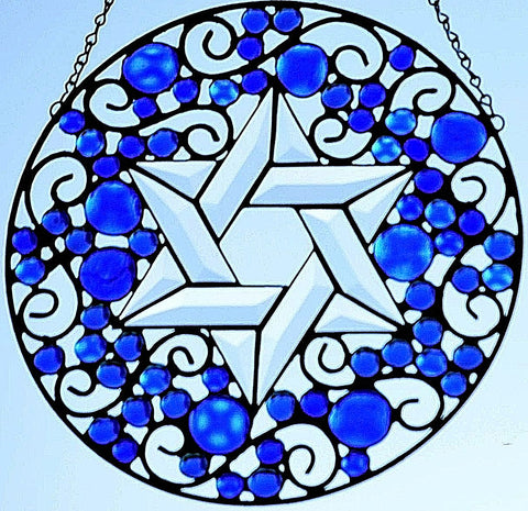 Stained Glass Religious Suncatcher - Star of David