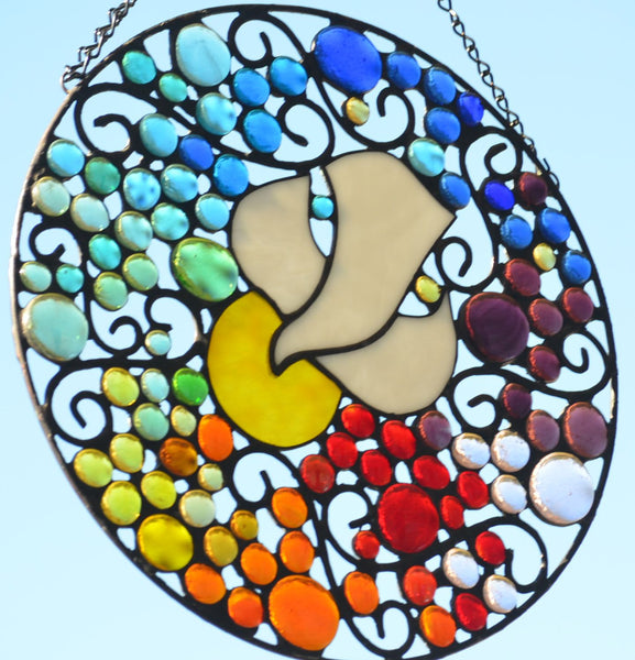 Religious Stained Glass Suncatcher- Dove Surrounded by a Rainbow of Color