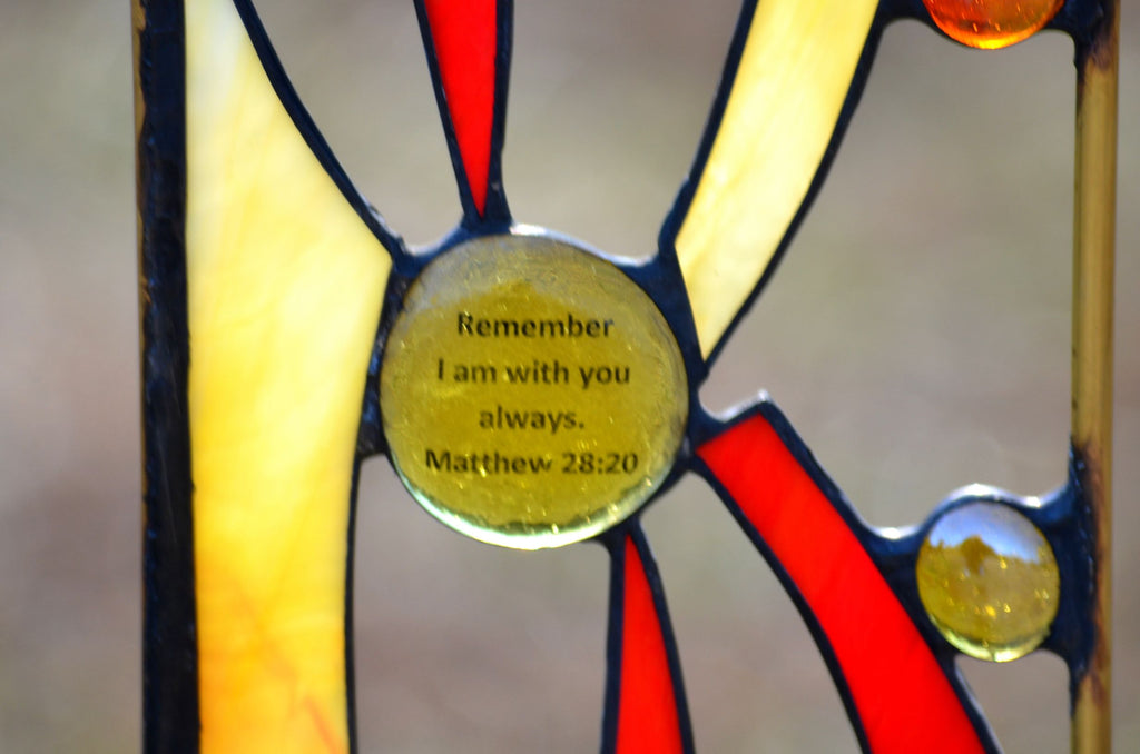 Stained Glass Garden Art with Religious Verse - 'Sun Rays'