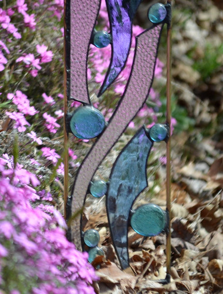 Stained Glass Yard Art in Cool Blues and Bubbling Clear Glass - 'Ebb Tide'