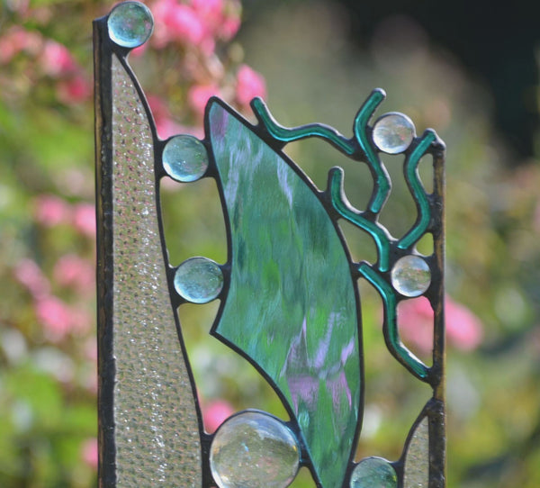 Stained Glass Garden Sculpture with Nautical Theme Design