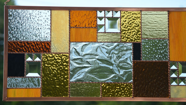 Stained Glass Window Panel in Crisp Fall Colors - Autumn Beauty