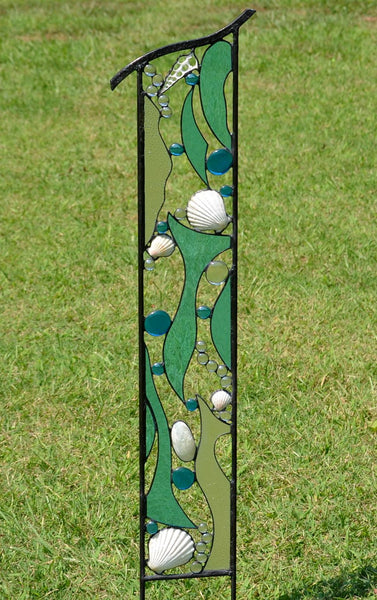 Large Garden Sculpture with Stained Glass and Seashells