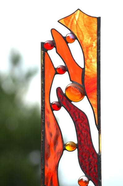 Garden Stake in red and orange stained glass