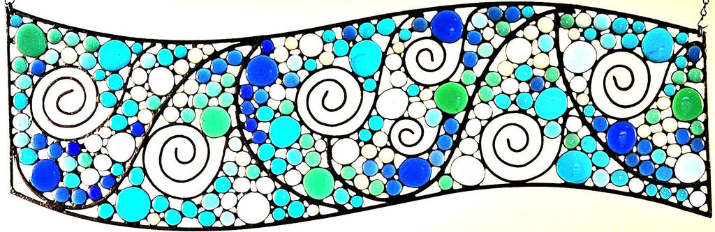 Custom Stained Glass Transom in Blue, Teal, Green, Clear Nuggets