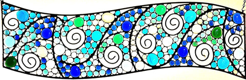 Large Stained Glass Transom.  Metal and Glass Art.  Teal, Blue, Clear, Green Nuggets.  'Waves-2'