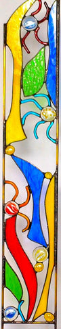 Stained Glass Garden Decor in Primary Colors - 'Whirligig'
