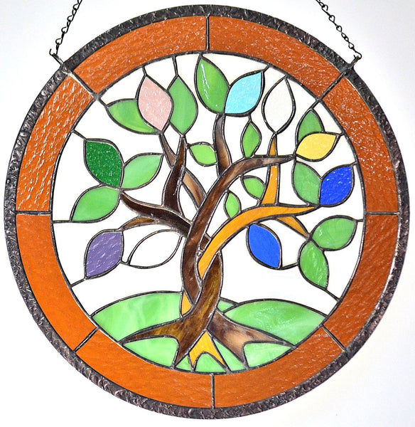 Custom Stained Glass Hanging Art with Birthstone Leaves - great gift for Mom