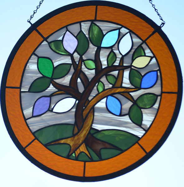 Custom Stained Glass Hanging Art with Birthstone Leaves