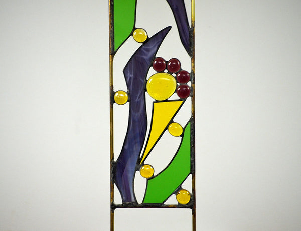 Stained Glass Garden Sculpture in Purple, Yellow, Green Glass - 'Fanciful Flowers'