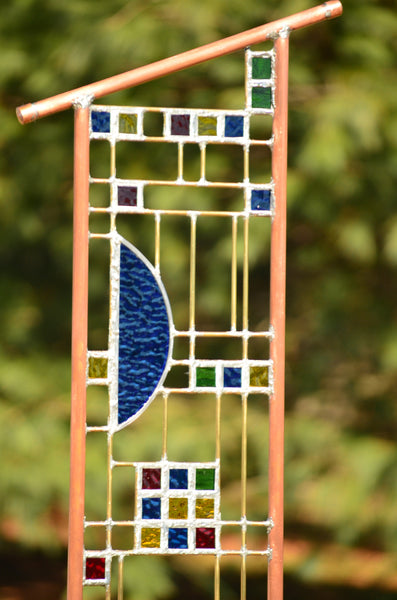 Large Garden Sculpture - Custom Stained Glass Art in Craftsman Style