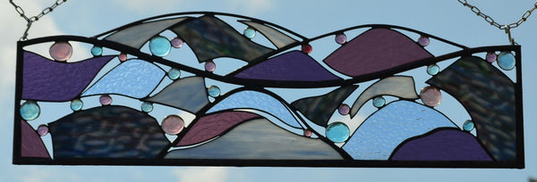 Stained Glass Panel in Purple, Blue for Home Decor.  'Mountain View'